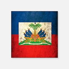 "Grunge Haiti Flag Square Sticker 3"" x 3"""