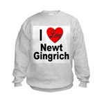 I Love Newt Gingrich (Front) Kids Sweatshirt