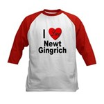 I Love Newt Gingrich (Front) Kids Baseball Jersey