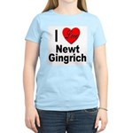 I Love Newt Gingrich (Front) Women's Pink T-Shirt
