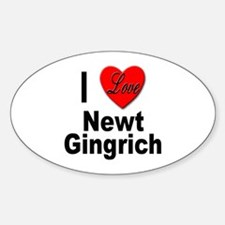 I Love Newt Gingrich Oval Decal