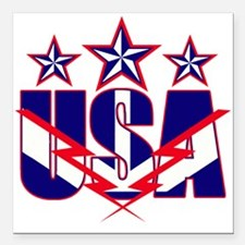 "Stars and stripes Square Car Magnet 3"" x 3"""