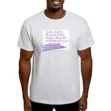 Teachers Write On The Hearts. Ash Grey T-Shirt