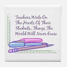 Teachers Write On The Hearts. Tile Coaster
