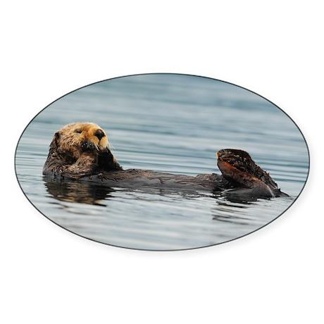 Alaskan Sea Otters Sticker (Oval)