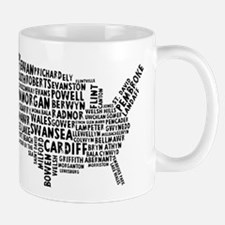 USA Map of Welsh Place Names Mug