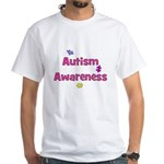 Autism Awareness (pink) White T-Shirt