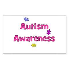 Autism Awareness (pink) Rectangle Decal