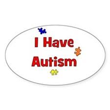 I Have Autism (red) Oval Decal