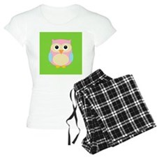 Pink and Blue Owl on Green Pajamas