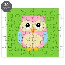 Pink and Blue Owl on Green Puzzle