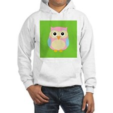 Pink and Blue Owl on Green Hoodie
