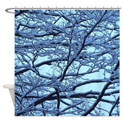 Blue Snowy Winter Trees Shower Curtain
