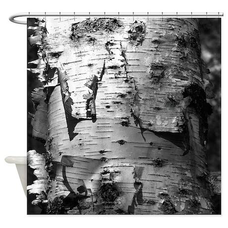 Birch Tree Bark Shower Curtain