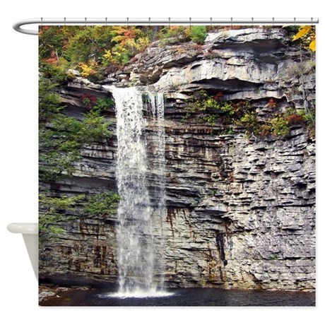 Beautiful Scenic Rocky Waterfall Shower Curtain