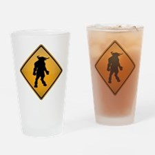 Minotaur Warning Sign Drinking Glass