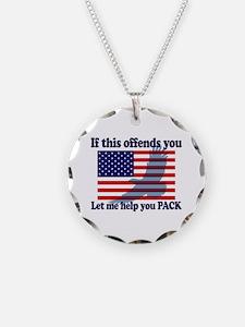 Flag Eagle Patriot Necklace Circle Charm