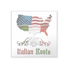 "American Italian Roots Square Sticker 3"" x 3&"