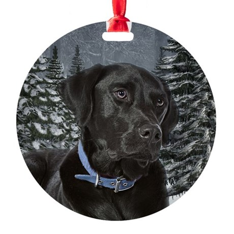 Black Lab Christmas Round Ornament