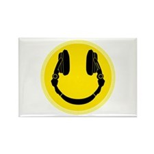 DJ Smiley Headphone Platter Rectangle Magnet