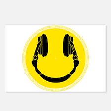 DJ Smiley Headphone Platter Postcards (Package of