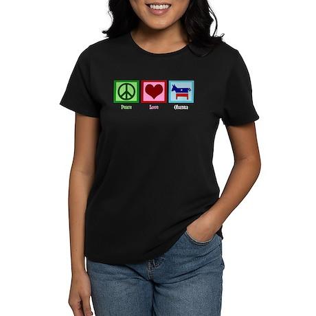 Peace Love Obama Women's Dark T-Shirt