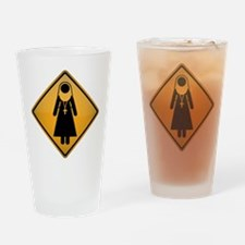 Nun Warning Sign Drinking Glass