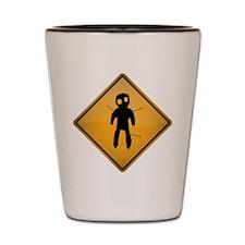 Voodoo Warning Sign Shot Glass