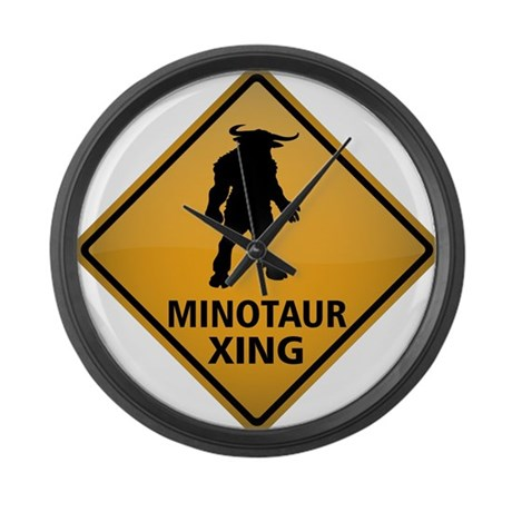 Minotaur Crossing Sign Large Wall Clock