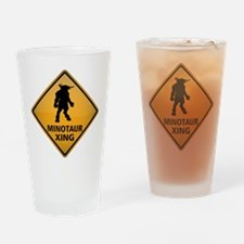 Minotaur Crossing Sign Drinking Glass