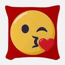 Kissing Emoji Woven Throw Pillow