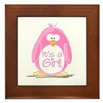 It is a Girl Penguin Framed Tile