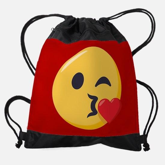 Kissing Emoji Drawstring Bag