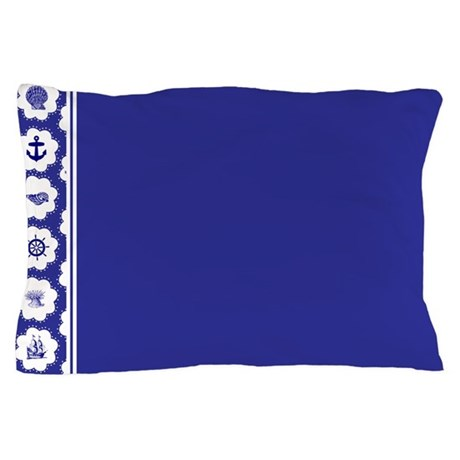 Seas and Sails Blue Nautical Pillow Case