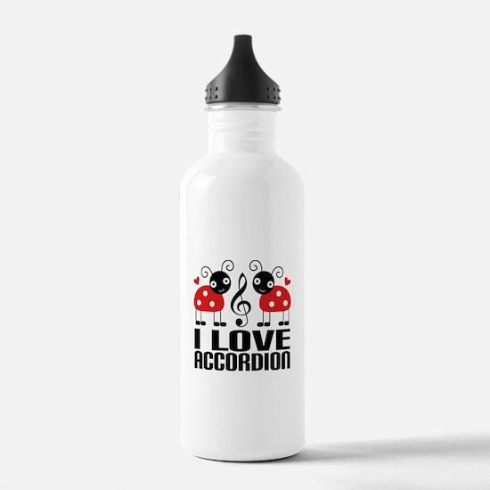 I Love Accordion Ladybug Water Bottle