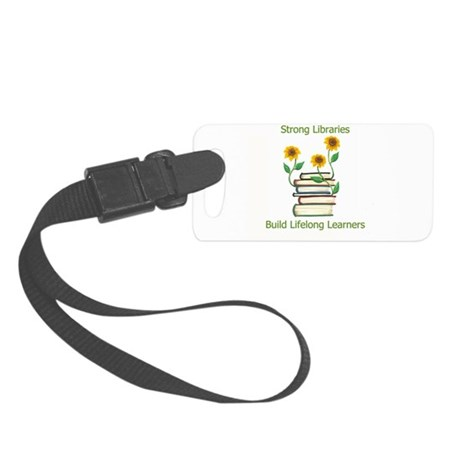 Sunflowers & Books 4 Libraries Small Luggage Tag