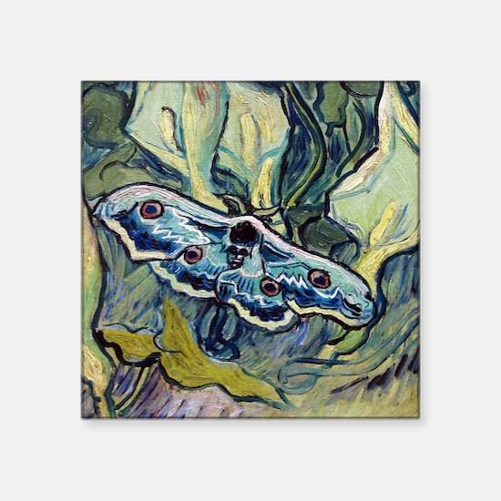 "Van Gogh Great Peacock Moth Square Sticker 3"" x 3"""