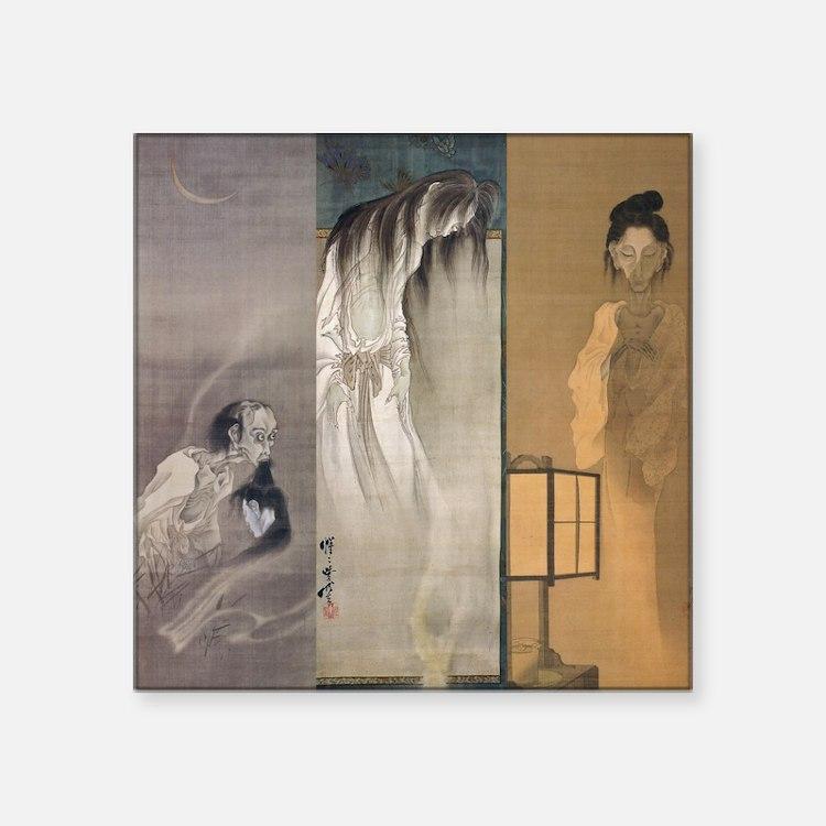 """Kawanabe Kyosai 3 Ghosts Square Sticker 3"""" x 3"""""""