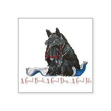 "Scottish Terrier Good Book Square Sticker 3"" x 3"""