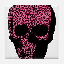 Punk gothic leopard print skull Tile Coaster