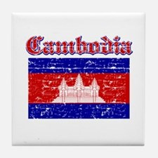Cambodia Flag Designs Tile Coaster