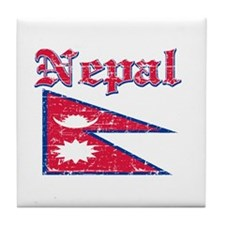 Nepal Flag Designs Tile Coaster