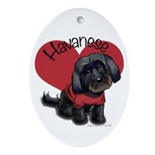 Lovable black Havanese Ornament (Oval)