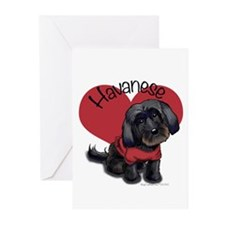 Lovable black Havanese Greeting Cards (Pk of 10)