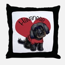 Lovable black Havanese Throw Pillow
