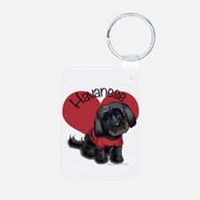 Lovable black Havanese Aluminum Photo Keychain