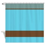 Blue and Brown Pattern Shower Curtain
