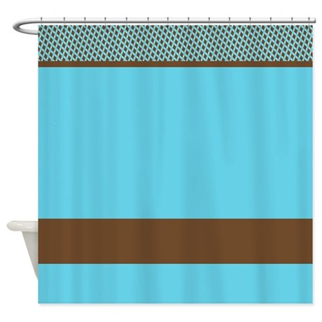 blue and brown pattern shower curtain by
