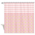 Pink Stripes and Flowers Shower Curtain