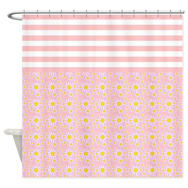 Pink Stripes And Flowers Shower Curtain By Stolenmomentsph